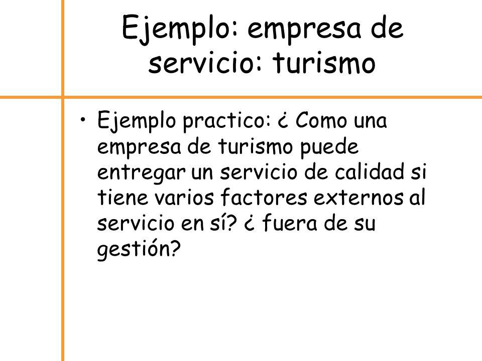 Ejemplo: empresa de servicio: turismo Ejemplo practico: ¿ Como una empresa de turismo puede entregar un servicio de calidad si tiene varios factores e