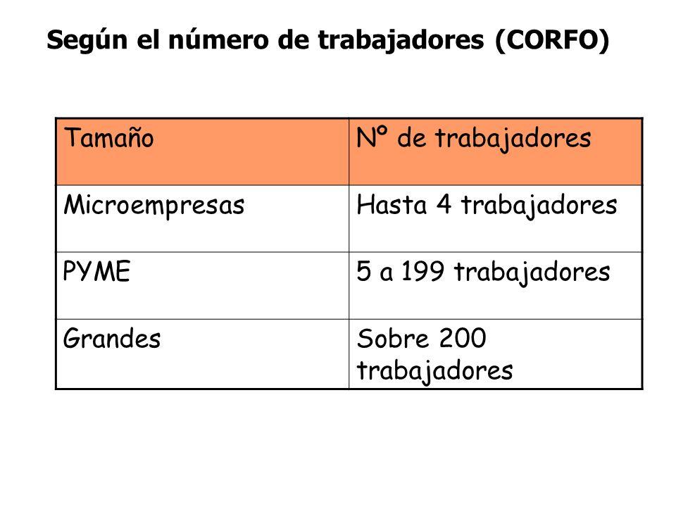 Según el número de trabajadores (CORFO) TamañoNº de trabajadores MicroempresasHasta 4 trabajadores PYME5 a 199 trabajadores GrandesSobre 200 trabajado