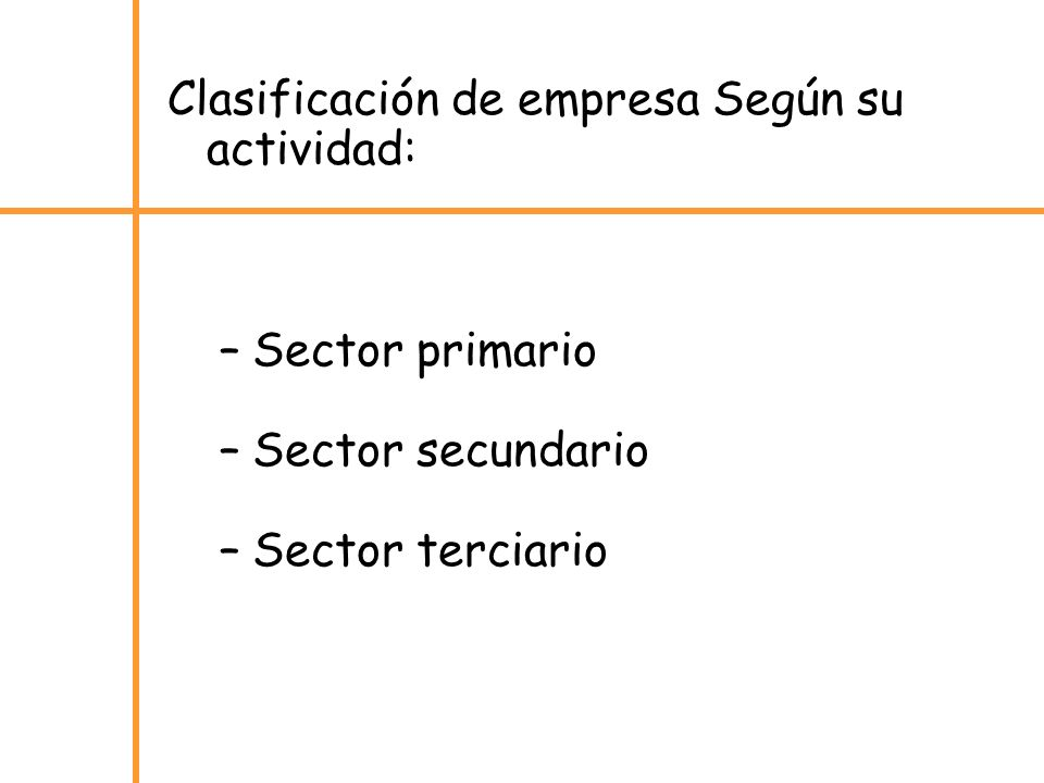 Clasificación de empresa Según su actividad: –Sector primario –Sector secundario –Sector terciario