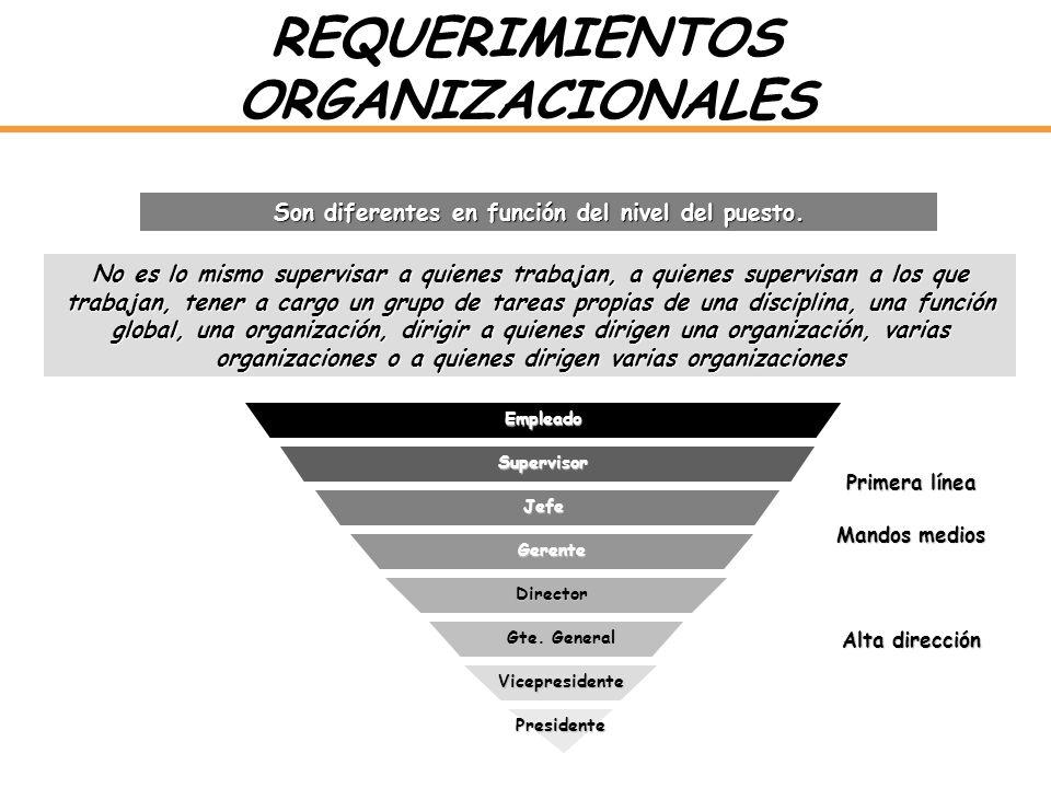 REQUERIMIENTOS ORGANIZACIONALES Son diferentes en función del nivel del puesto. No es lo mismo supervisar a quienes trabajan, a quienes supervisan a l
