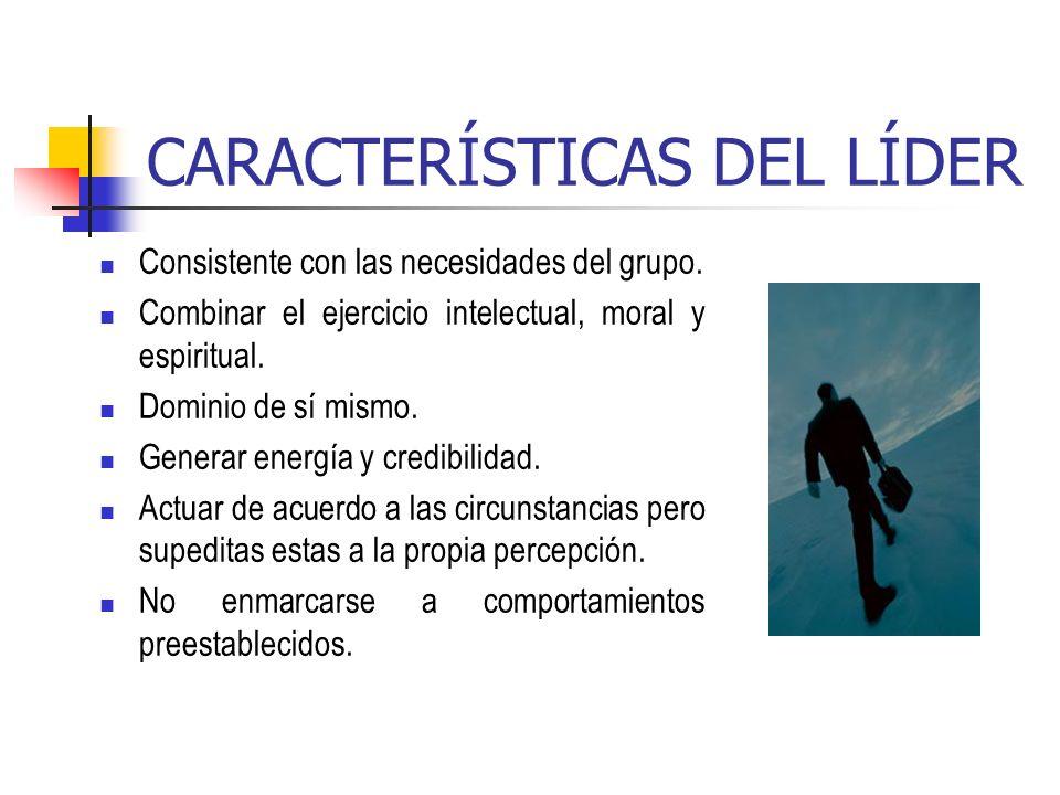 CARACTERÍSTICAS DEL LÍDER Consistente con las necesidades del grupo. Combinar el ejercicio intelectual, moral y espiritual. Dominio de sí mismo. Gener