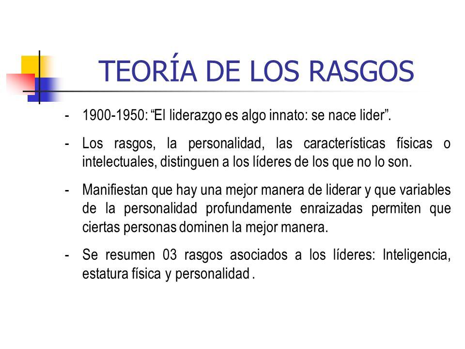 TEORÍA DE LOS RASGOS -1900-1950: El liderazgo es algo innato: se nace lider. -Los rasgos, la personalidad, las características físicas o intelectuales