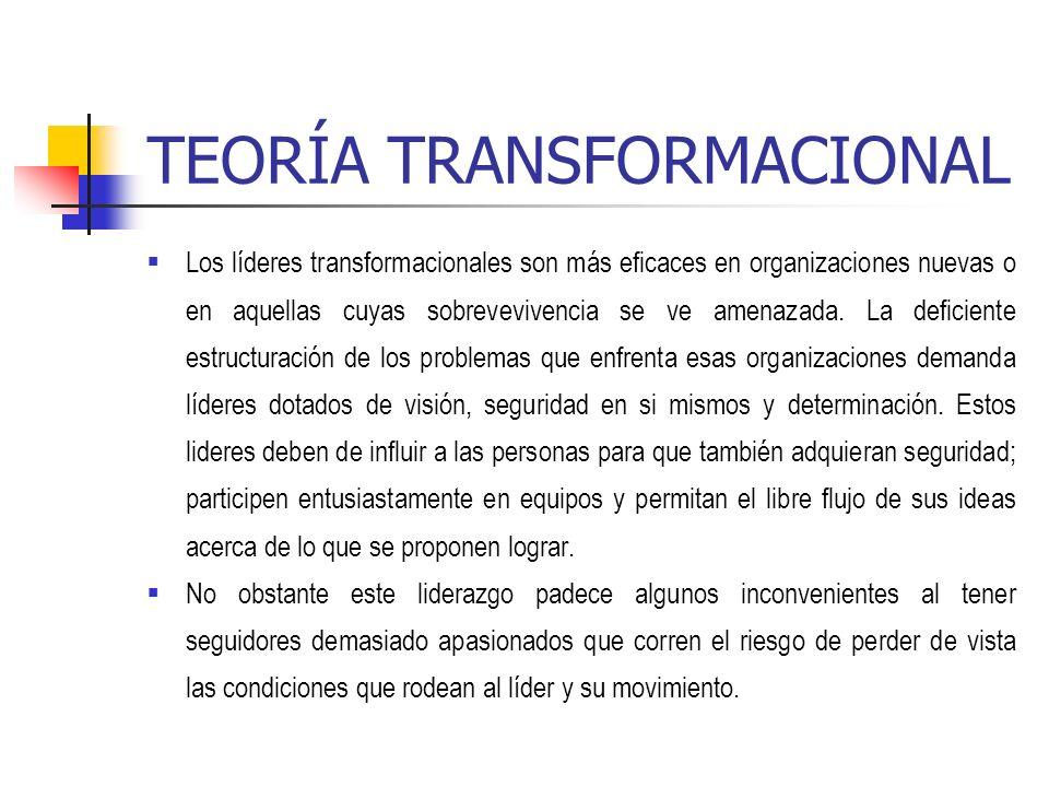 TEORÍA TRANSFORMACIONAL Los líderes transformacionales son más eficaces en organizaciones nuevas o en aquellas cuyas sobrevevivencia se ve amenazada.