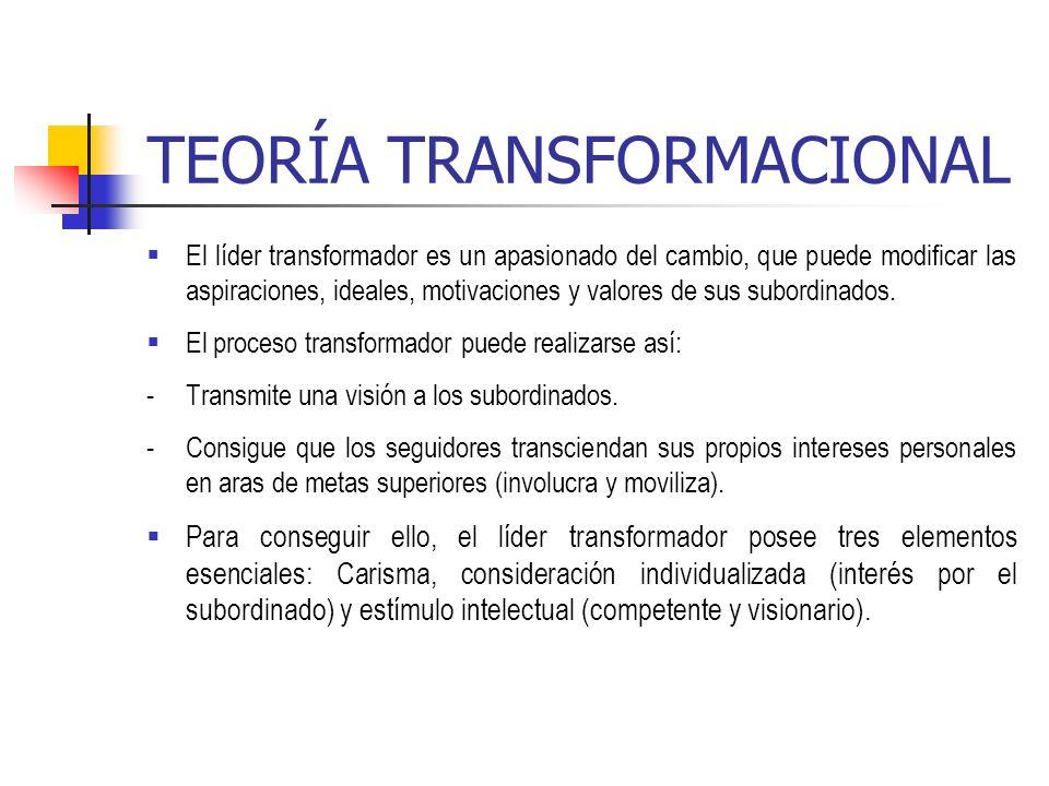 TEORÍA TRANSFORMACIONAL El líder transformador es un apasionado del cambio, que puede modificar las aspiraciones, ideales, motivaciones y valores de s
