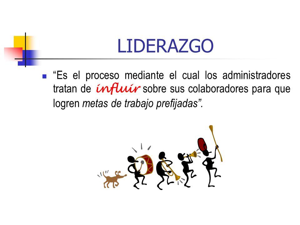 LIDERAZGO Es el proceso mediante el cual los administradores tratan de influir sobre sus colaboradores para que logren metas de trabajo prefijadas.