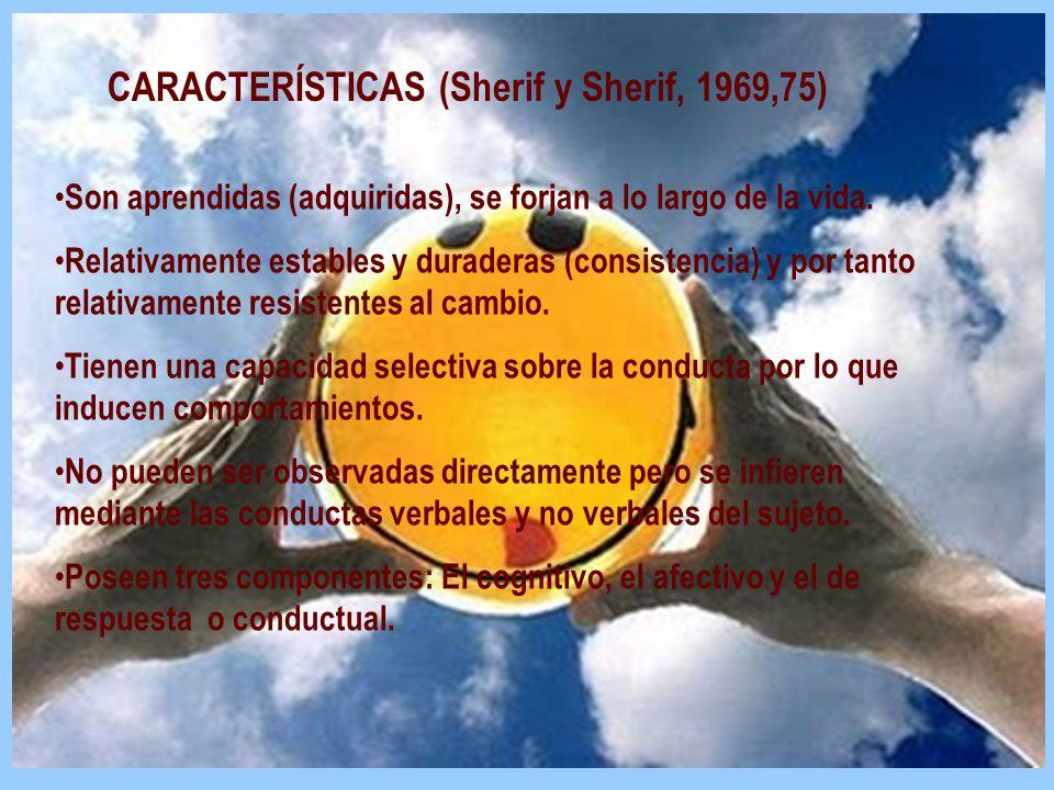 CARACTERÍSTICAS (Sherif y Sherif, 1969,75) Son aprendidas (adquiridas), se forjan a lo largo de la vida. Relativamente estables y duraderas (consisten