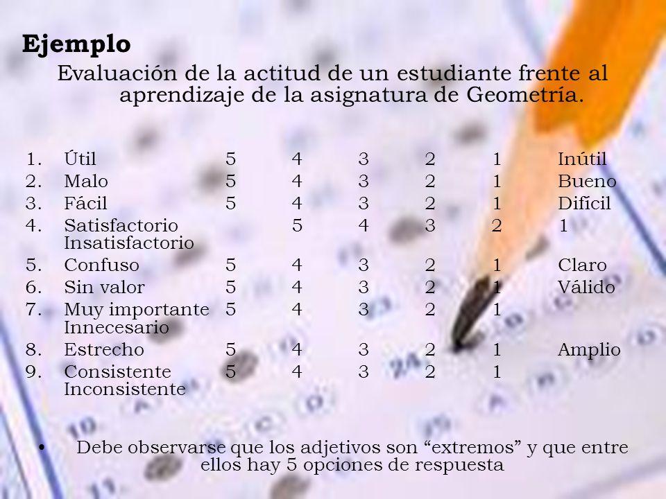 Ejemplo Evaluación de la actitud de un estudiante frente al aprendizaje de la asignatura de Geometría. 1.Útil54321Inútil 2.Malo 54321 Bueno 3.Fácil543