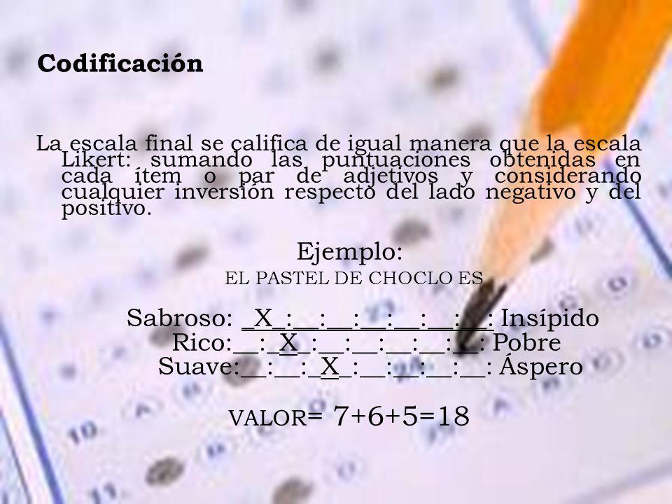 Codificación La escala final se califica de igual manera que la escala Likert: sumando las puntuaciones obtenidas en cada ítem o par de adjetivos y co