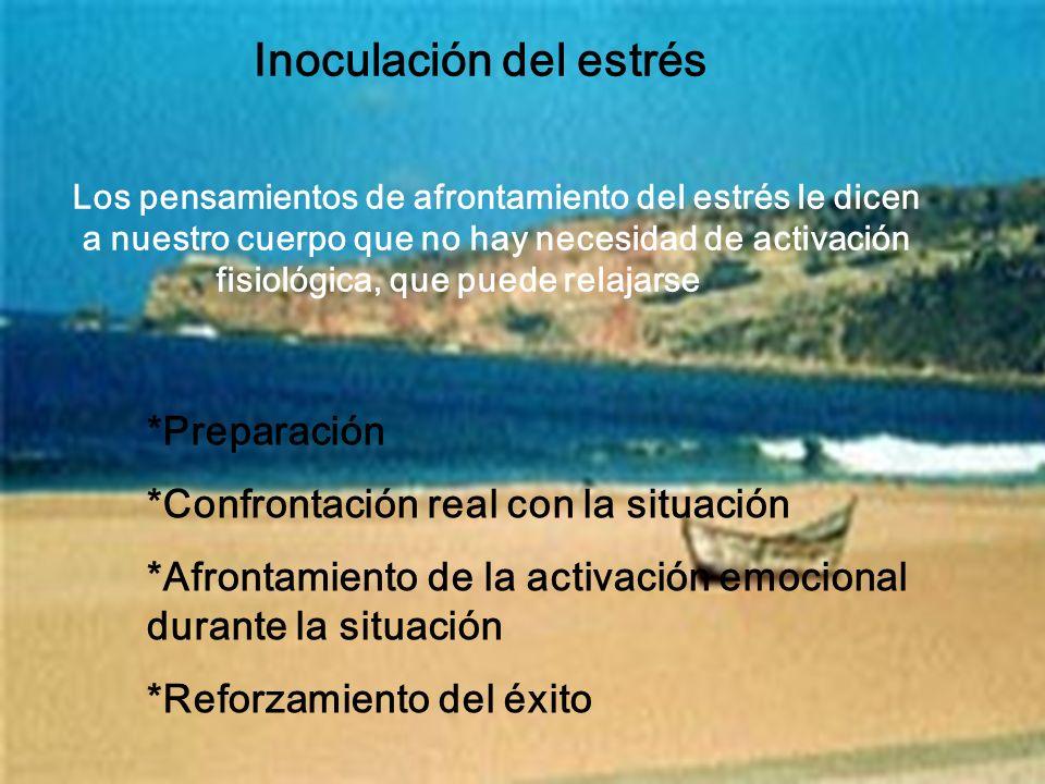 Inoculación del estrés *Preparación *Confrontación real con la situación *Afrontamiento de la activación emocional durante la situación *Reforzamiento