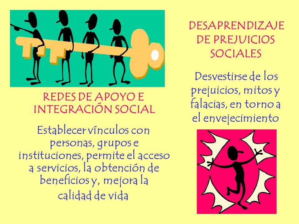 REDES DE APOYO E INTEGRACIÓN SOCIAL Establecer vínculos con personas, grupos e instituciones, permite el acceso a servicios, la obtención de beneficio