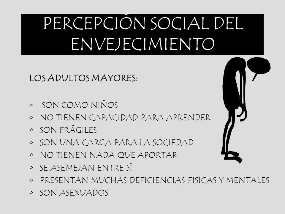 PERCEPCIÓN SOCIAL DEL ENVEJECIMIENTO LOS ADULTOS MAYORES: SON COMO NIÑOS NO TIENEN CAPACIDAD PARA APRENDER SON FRÁGILES SON UNA CARGA PARA LA SOCIEDAD