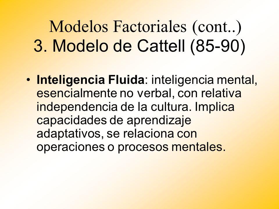 3. Modelo de Cattell (85-90) Inteligencia Fluida: inteligencia mental, esencialmente no verbal, con relativa independencia de la cultura. Implica capa
