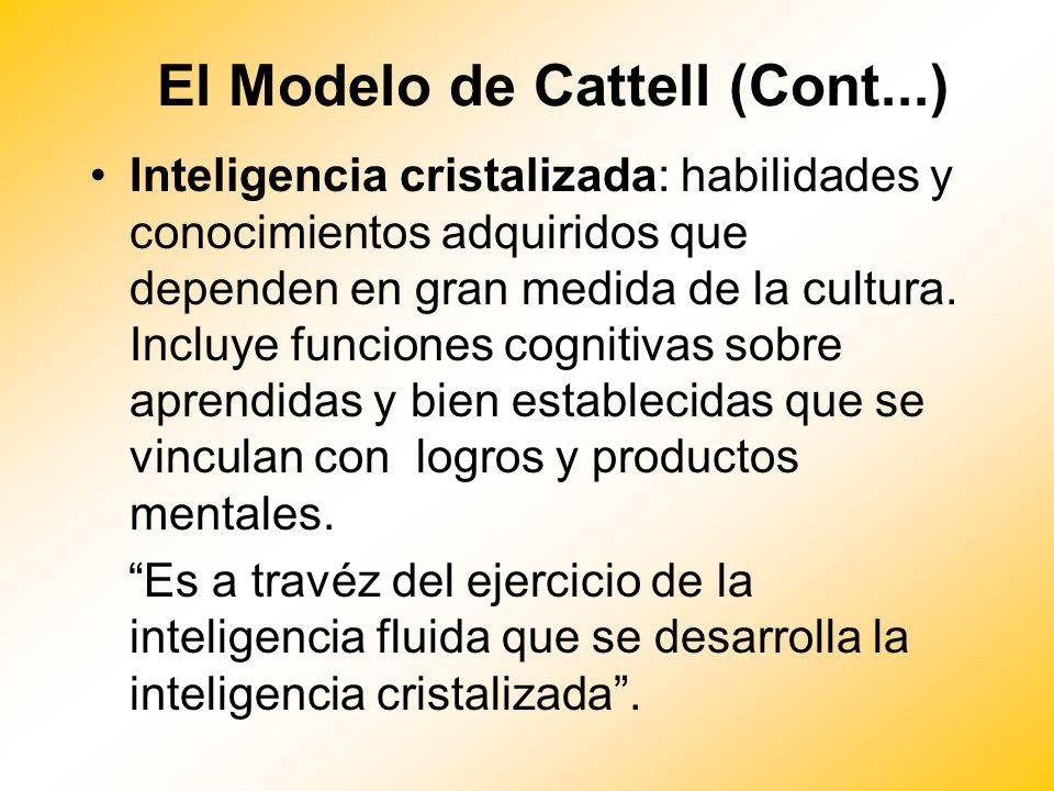 El Modelo de Cattell (Cont...) Inteligencia cristalizada: habilidades y conocimientos adquiridos que dependen en gran medida de la cultura. Incluye fu