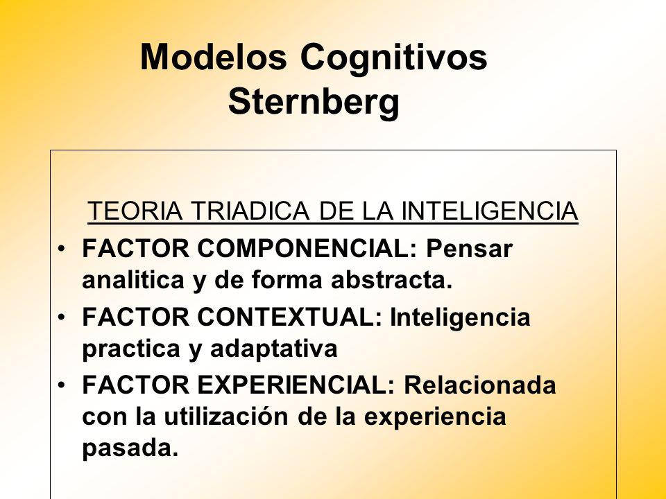 Modelos Cognitivos Sternberg TEORIA TRIADICA DE LA INTELIGENCIA FACTOR COMPONENCIAL: Pensar analitica y de forma abstracta. FACTOR CONTEXTUAL: Intelig