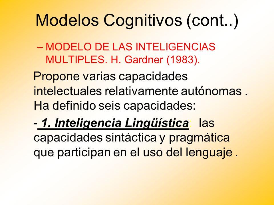 Modelos Cognitivos (cont..) –MODELO DE LAS INTELIGENCIAS MULTIPLES. H. Gardner (1983). Propone varias capacidades intelectuales relativamente autónoma