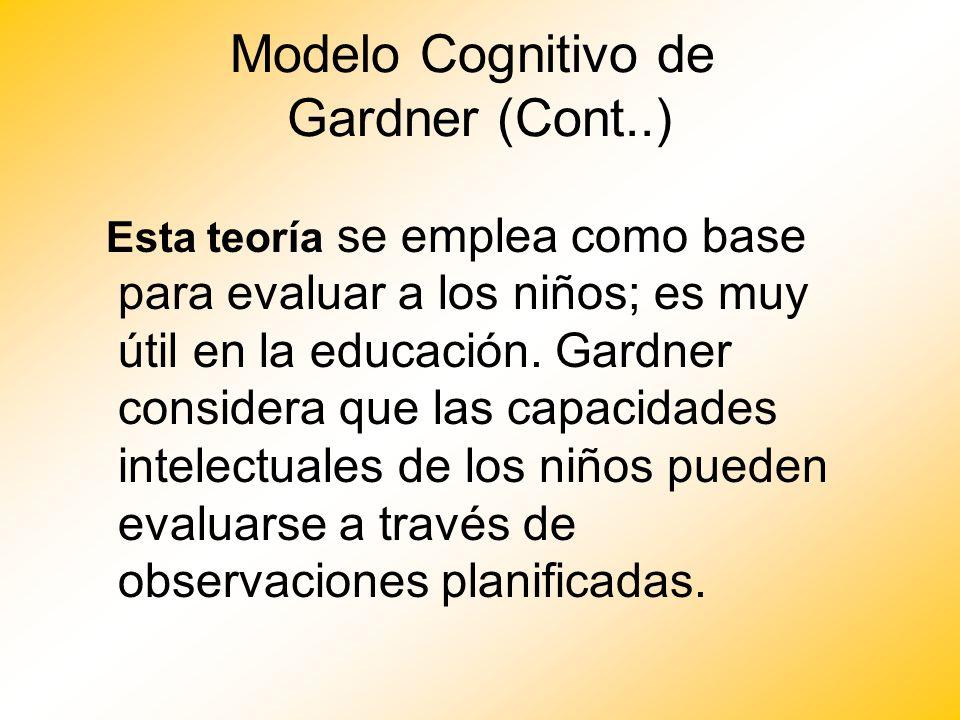 Modelo Cognitivo de Gardner (Cont..) Esta teoría se emplea como base para evaluar a los niños; es muy útil en la educación. Gardner considera que las