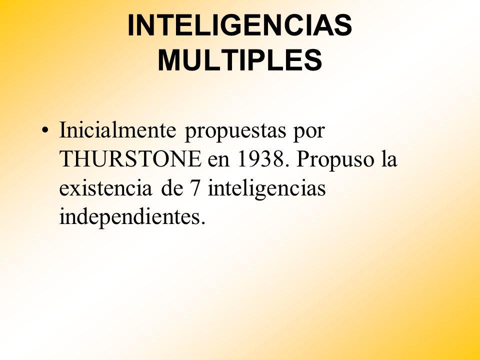 INTELIGENCIAS MULTIPLES Inicialmente propuestas por THURSTONE en 1938. Propuso la existencia de 7 inteligencias independientes.