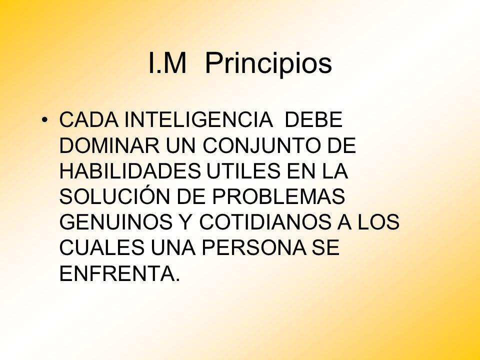 I.M Principios CADA INTELIGENCIA DEBE DOMINAR UN CONJUNTO DE HABILIDADES UTILES EN LA SOLUCIÓN DE PROBLEMAS GENUINOS Y COTIDIANOS A LOS CUALES UNA PER