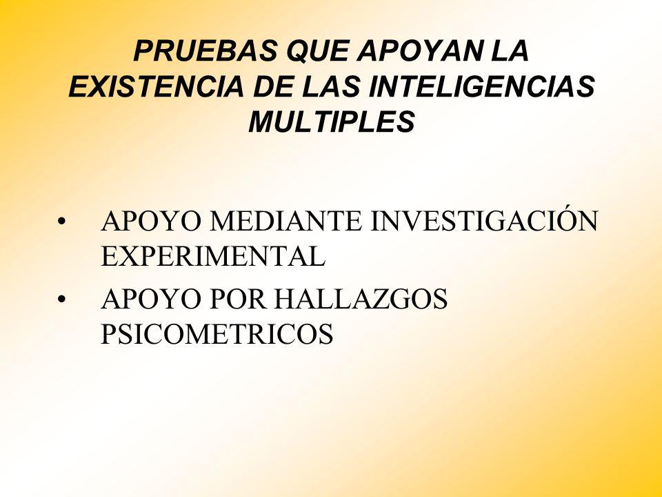 PRUEBAS QUE APOYAN LA EXISTENCIA DE LAS INTELIGENCIAS MULTIPLES APOYO MEDIANTE INVESTIGACIÓN EXPERIMENTAL APOYO POR HALLAZGOS PSICOMETRICOS