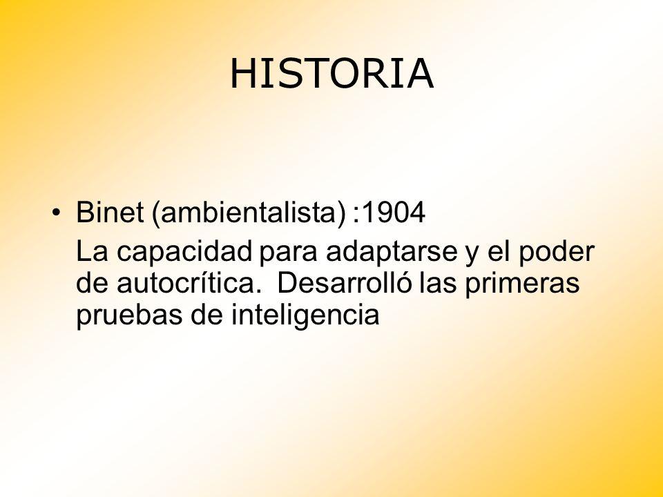 Binet (ambientalista) :1904 La capacidad para adaptarse y el poder de autocrítica. Desarrolló las primeras pruebas de inteligencia HISTORIA