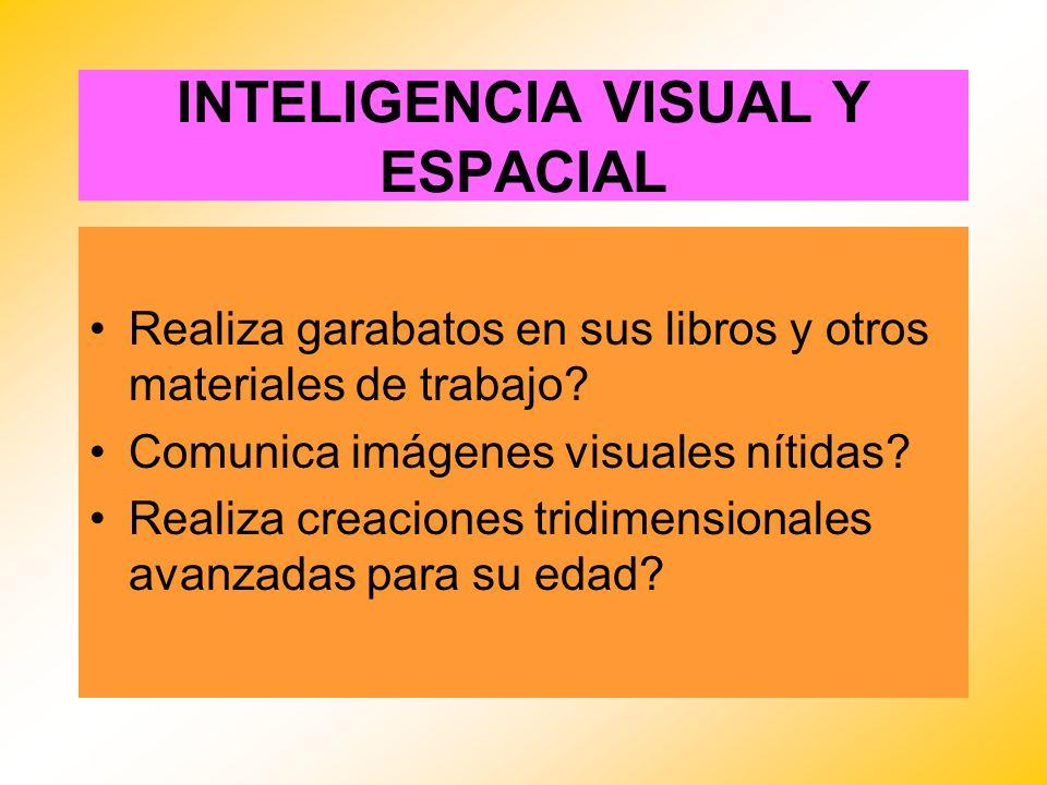 INTELIGENCIA VISUAL Y ESPACIAL Realiza garabatos en sus libros y otros materiales de trabajo? Comunica imágenes visuales nítidas? Realiza creaciones t