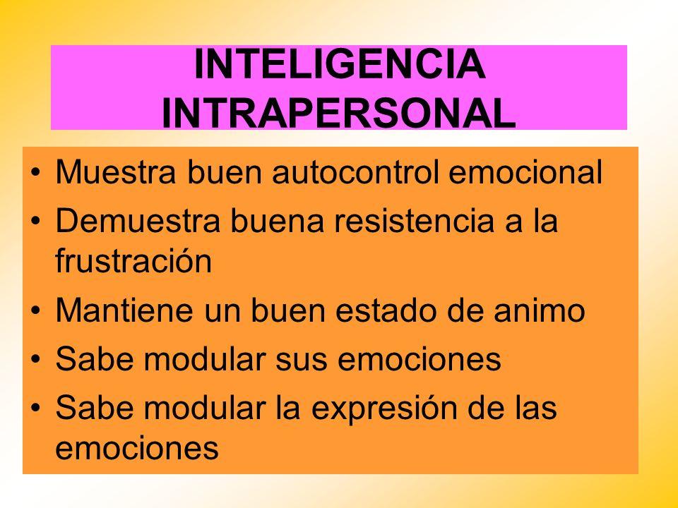 INTELIGENCIA INTRAPERSONAL Muestra buen autocontrol emocional Demuestra buena resistencia a la frustración Mantiene un buen estado de animo Sabe modul