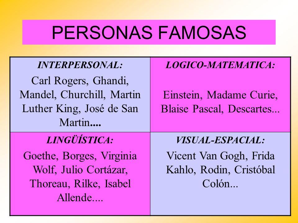 PERSONAS FAMOSAS INTERPERSONAL: Carl Rogers, Ghandi, Mandel, Churchill, Martin Luther King, José de San Martin.... LOGICO-MATEMATICA: Einstein, Madame