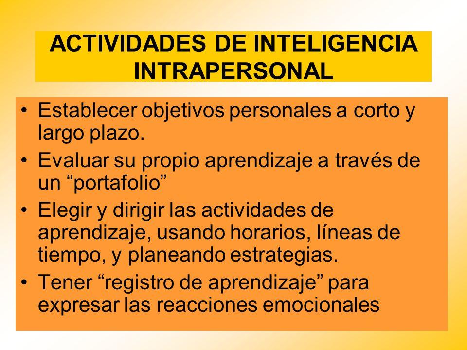 ACTIVIDADES DE INTELIGENCIA INTRAPERSONAL Establecer objetivos personales a corto y largo plazo. Evaluar su propio aprendizaje a través de un portafol