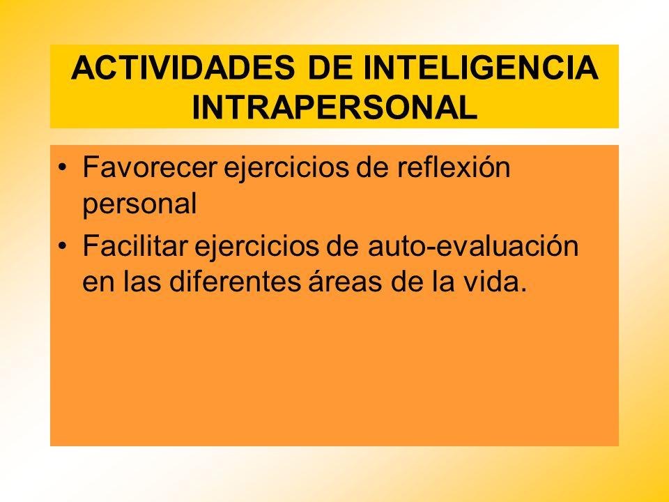 ACTIVIDADES DE INTELIGENCIA INTRAPERSONAL Favorecer ejercicios de reflexión personal Facilitar ejercicios de auto-evaluación en las diferentes áreas d