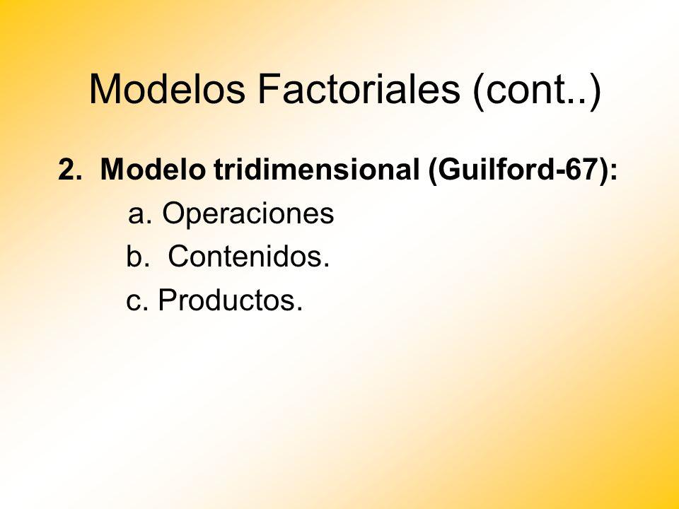 Modelos Factoriales (cont..) 2. Modelo tridimensional (Guilford-67): a. Operaciones b. Contenidos. c. Productos.