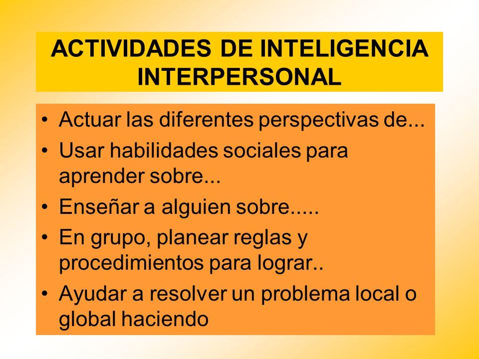 ACTIVIDADES DE INTELIGENCIA INTERPERSONAL Actuar las diferentes perspectivas de... Usar habilidades sociales para aprender sobre... Enseñar a alguien