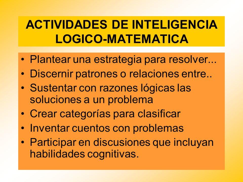 ACTIVIDADES DE INTELIGENCIA LOGICO-MATEMATICA Plantear una estrategia para resolver... Discernir patrones o relaciones entre.. Sustentar con razones l