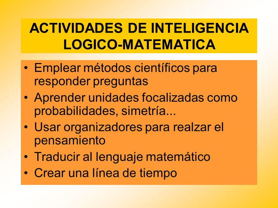 ACTIVIDADES DE INTELIGENCIA LOGICO-MATEMATICA Emplear métodos científicos para responder preguntas Aprender unidades focalizadas como probabilidades,