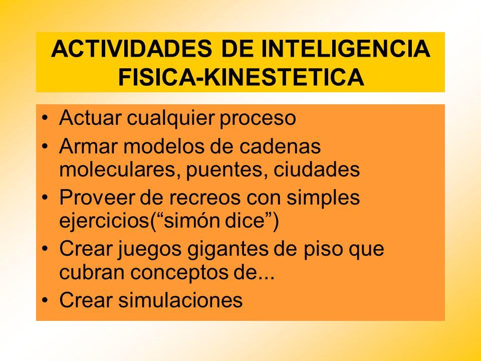 ACTIVIDADES DE INTELIGENCIA FISICA-KINESTETICA Actuar cualquier proceso Armar modelos de cadenas moleculares, puentes, ciudades Proveer de recreos con