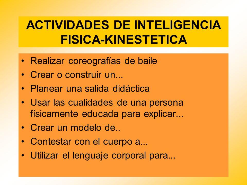 ACTIVIDADES DE INTELIGENCIA FISICA-KINESTETICA Realizar coreografías de baile Crear o construir un... Planear una salida didáctica Usar las cualidades
