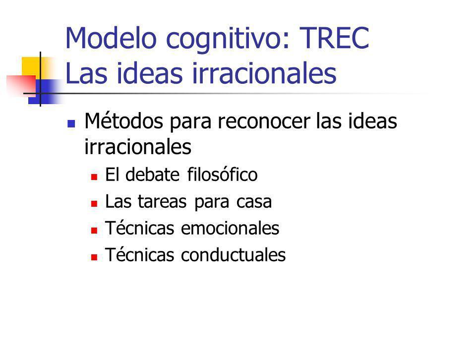 Modelo cognitivo: TREC Las ideas irracionales Métodos para reconocer las ideas irracionales El debate filosófico Las tareas para casa Técnicas emocionales Técnicas conductuales