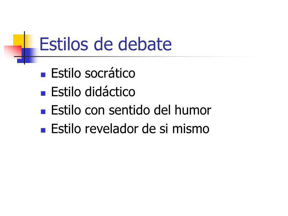 Estilos de debate Estilo socrático Estilo didáctico Estilo con sentido del humor Estilo revelador de si mismo