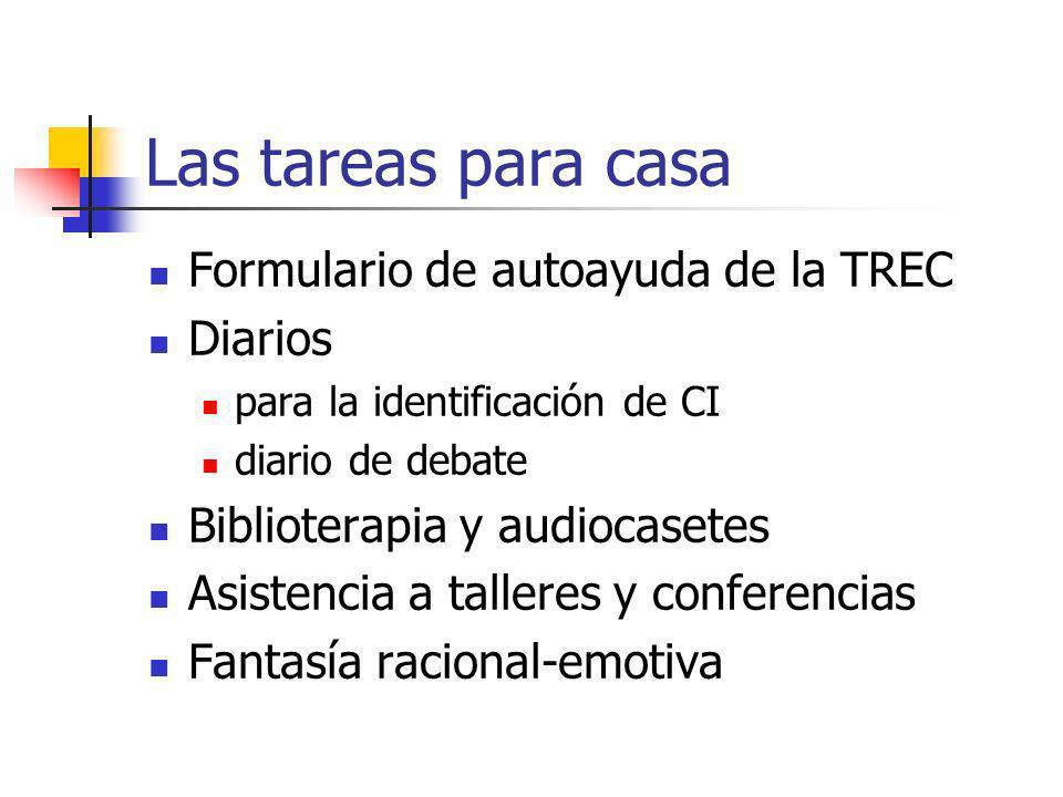 Las tareas para casa Formulario de autoayuda de la TREC Diarios para la identificación de CI diario de debate Biblioterapia y audiocasetes Asistencia a talleres y conferencias Fantasía racional-emotiva