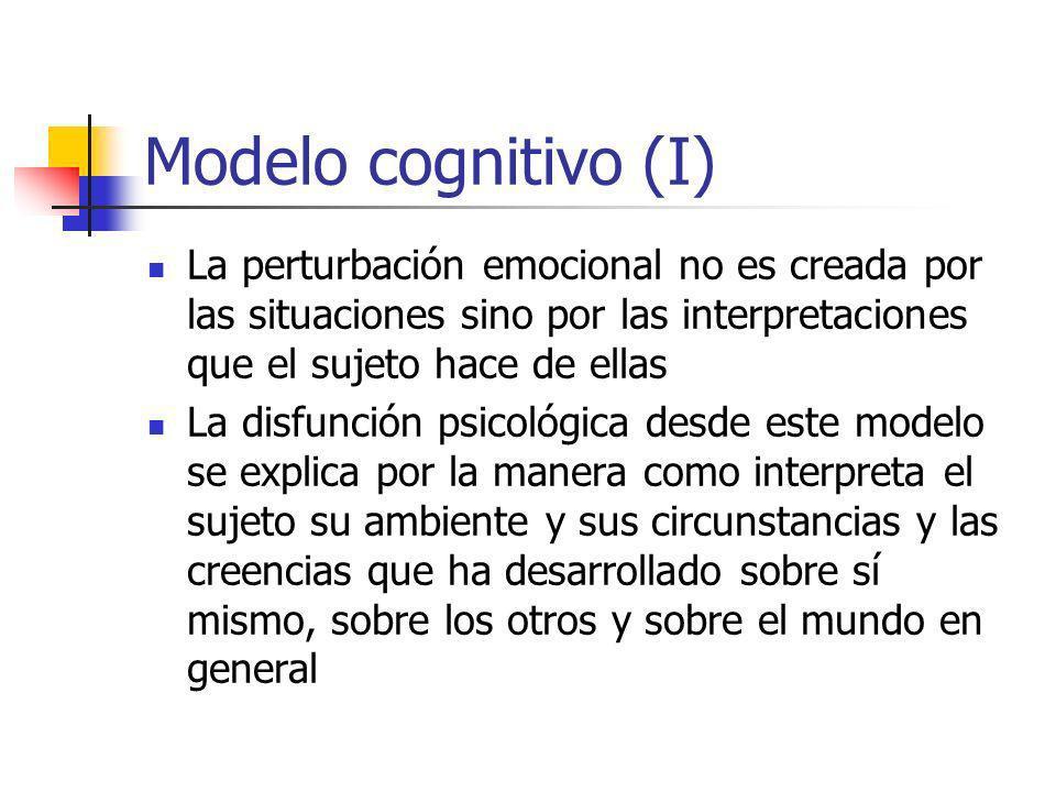 Modelo cognitivo (I) La perturbación emocional no es creada por las situaciones sino por las interpretaciones que el sujeto hace de ellas La disfunción psicológica desde este modelo se explica por la manera como interpreta el sujeto su ambiente y sus circunstancias y las creencias que ha desarrollado sobre sí mismo, sobre los otros y sobre el mundo en general