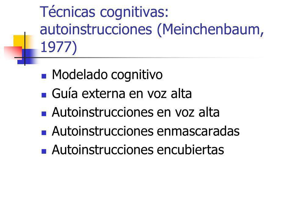 Técnicas cognitivas: autoinstrucciones (Meinchenbaum, 1977) Modelado cognitivo Guía externa en voz alta Autoinstrucciones en voz alta Autoinstrucciones enmascaradas Autoinstrucciones encubiertas