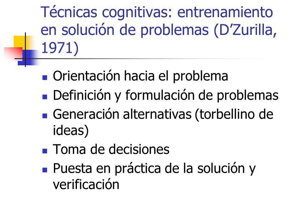 Técnicas cognitivas: entrenamiento en solución de problemas (DZurilla, 1971) Orientación hacia el problema Definición y formulación de problemas Generación alternativas (torbellino de ideas) Toma de decisiones Puesta en práctica de la solución y verificación