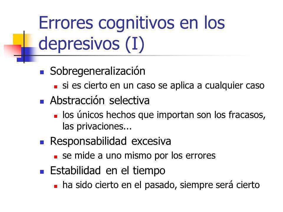 Errores cognitivos en los depresivos (I) Sobregeneralización si es cierto en un caso se aplica a cualquier caso Abstracción selectiva los únicos hechos que importan son los fracasos, las privaciones...