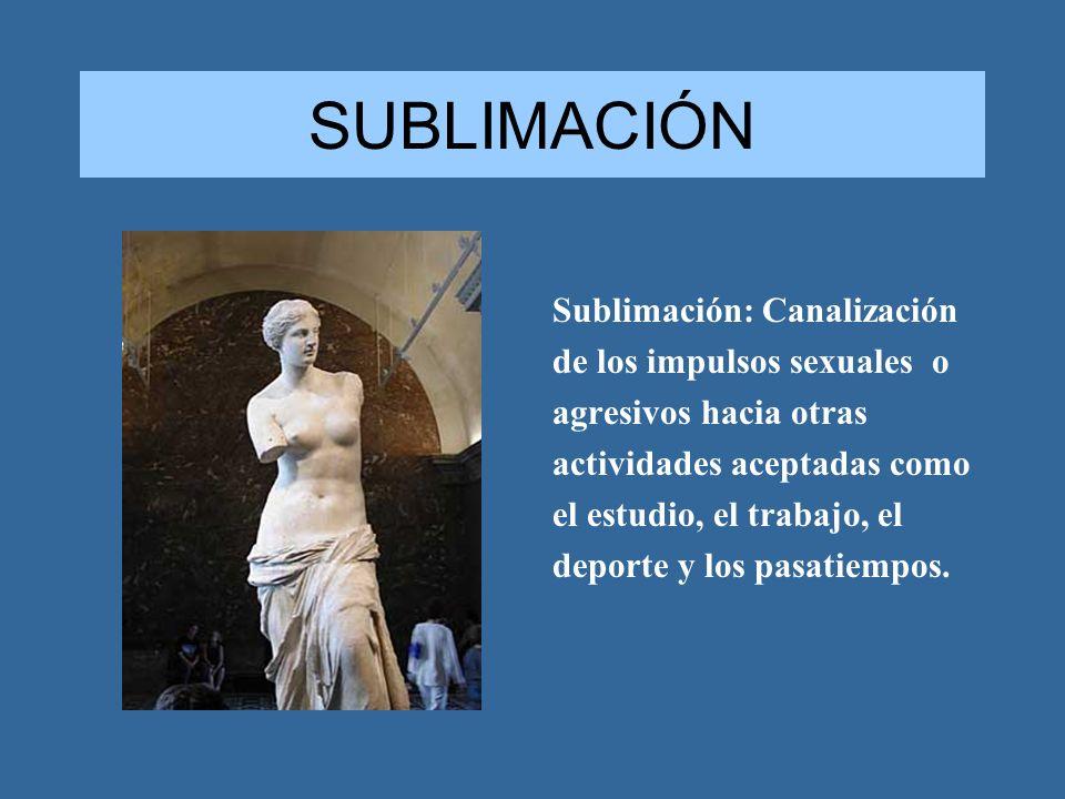 SUBLIMACIÓN Sublimación: Canalización de los impulsos sexuales o agresivos hacia otras actividades aceptadas como el estudio, el trabajo, el deporte y