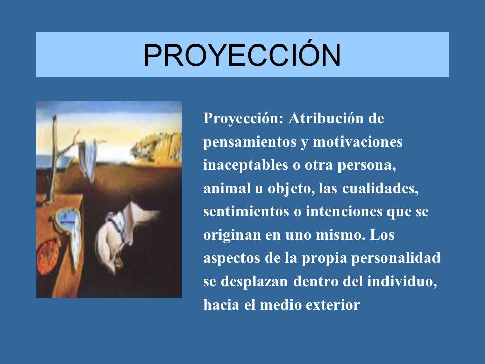 PROYECCIÓN Proyección: Atribución de pensamientos y motivaciones inaceptables o otra persona, animal u objeto, las cualidades, sentimientos o intencio