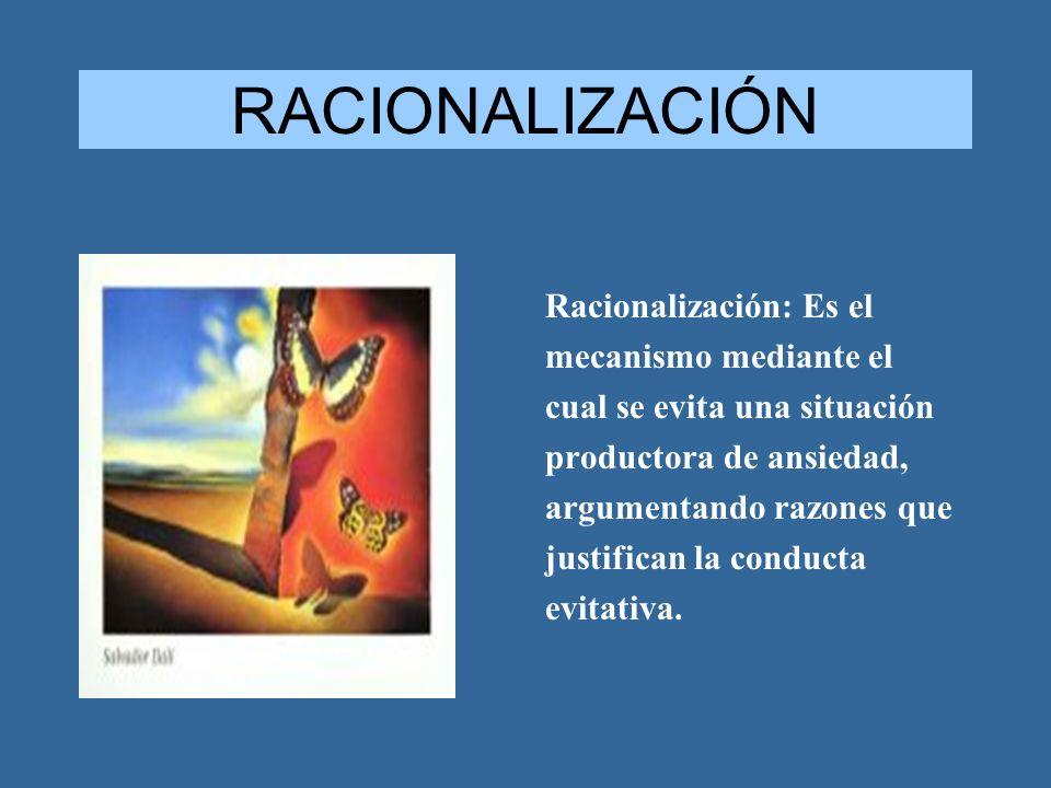 RACIONALIZACIÓN Racionalización: Es el mecanismo mediante el cual se evita una situación productora de ansiedad, argumentando razones que justifican l