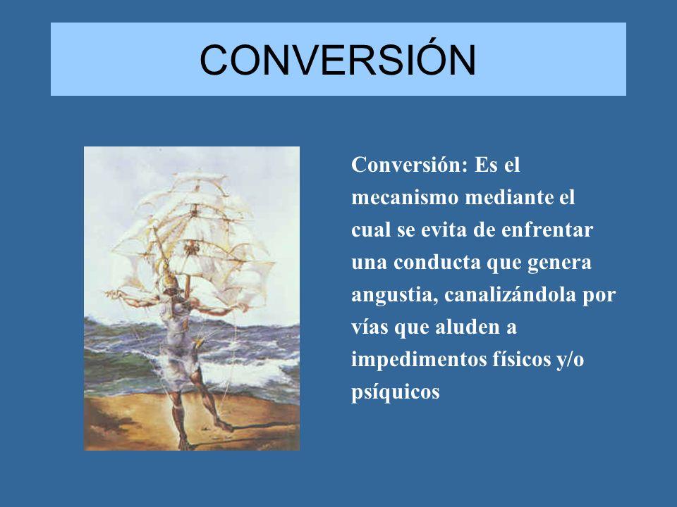 CONVERSIÓN Conversión: Es el mecanismo mediante el cual se evita de enfrentar una conducta que genera angustia, canalizándola por vías que aluden a im