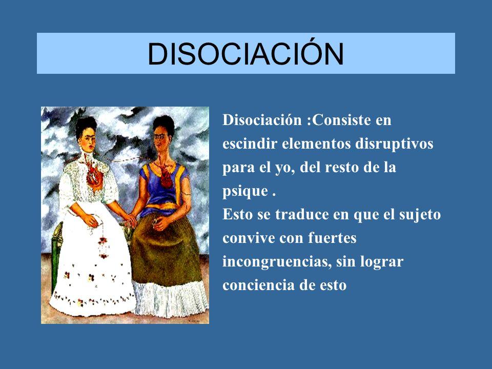 DISOCIACIÓN Disociación :Consiste en escindir elementos disruptivos para el yo, del resto de la psique. Esto se traduce en que el sujeto convive con f