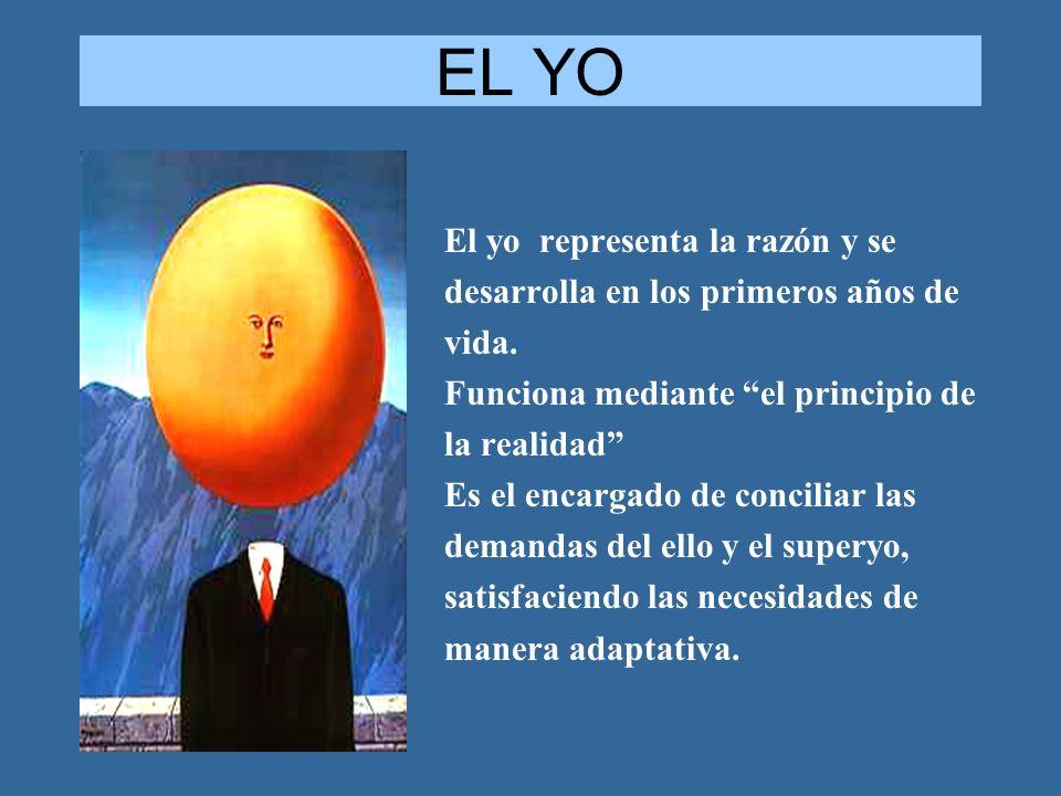 EL YO El yo representa la razón y se desarrolla en los primeros años de vida. Funciona mediante el principio de la realidad Es el encargado de concili