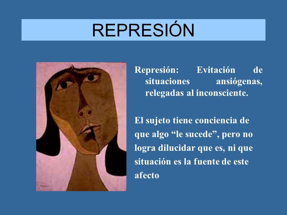 REPRESIÓN Represión: Evitación de situaciones ansiógenas, relegadas al inconsciente. El sujeto tiene conciencia de que algo le sucede, pero no logra d
