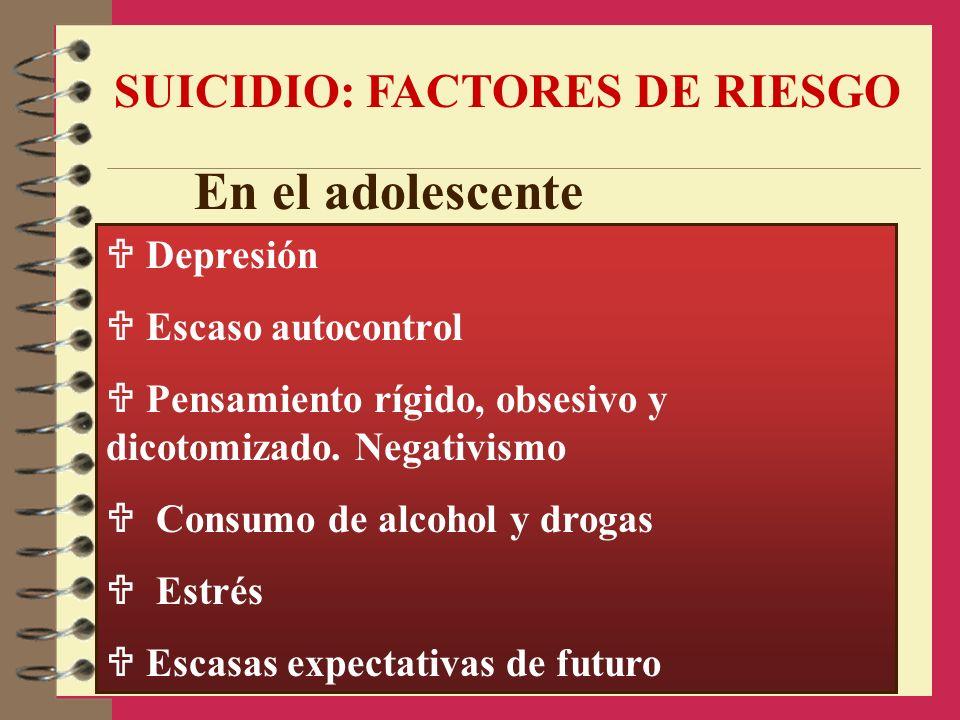 SUICIDIO: FACTORES DE RIESGO Depresión Escaso autocontrol Pensamiento rígido, obsesivo y dicotomizado. Negativismo Consumo de alcohol y drogas Estrés